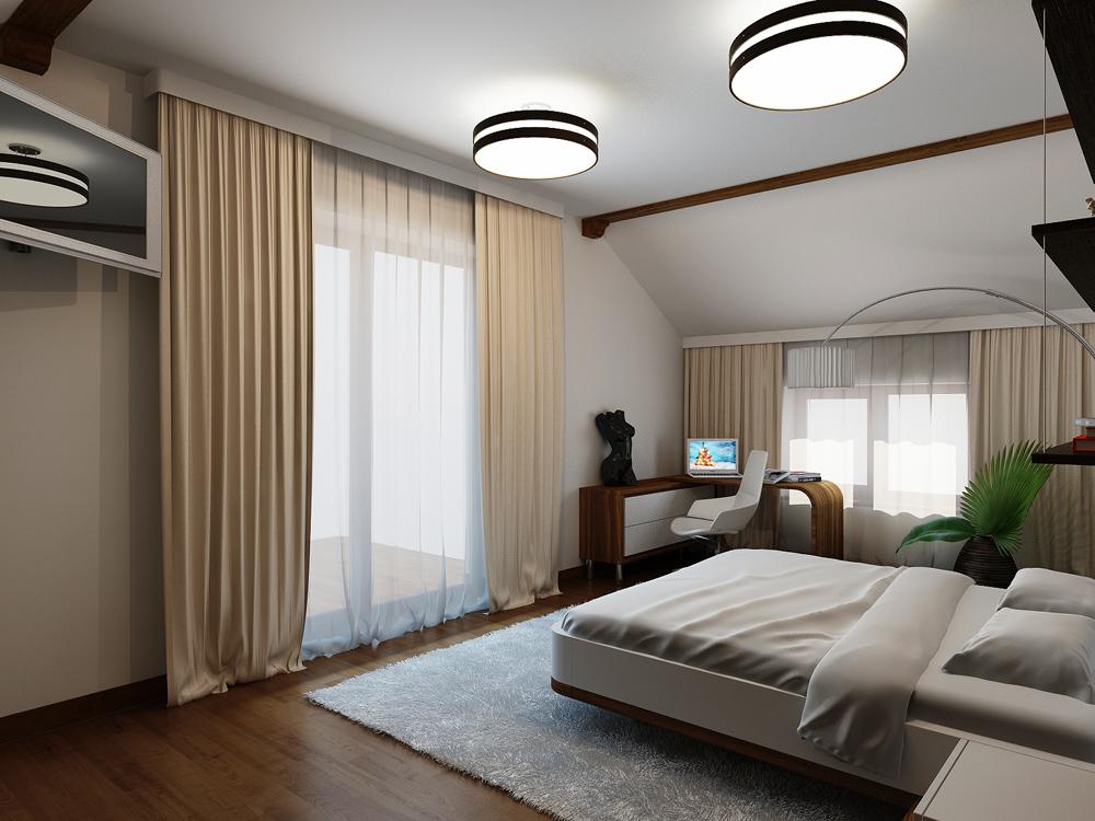 Дизайн интерьера мансардного этажа
